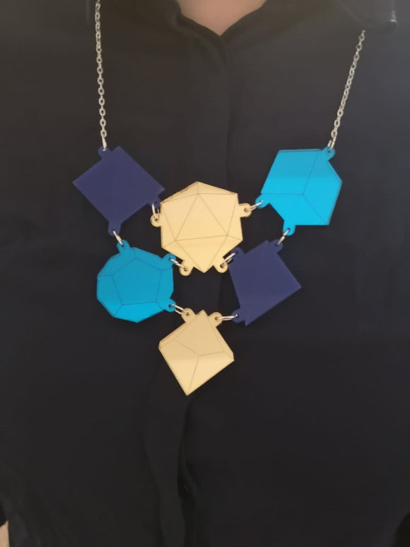 Acrylic Blue and Gold Dice Necklace