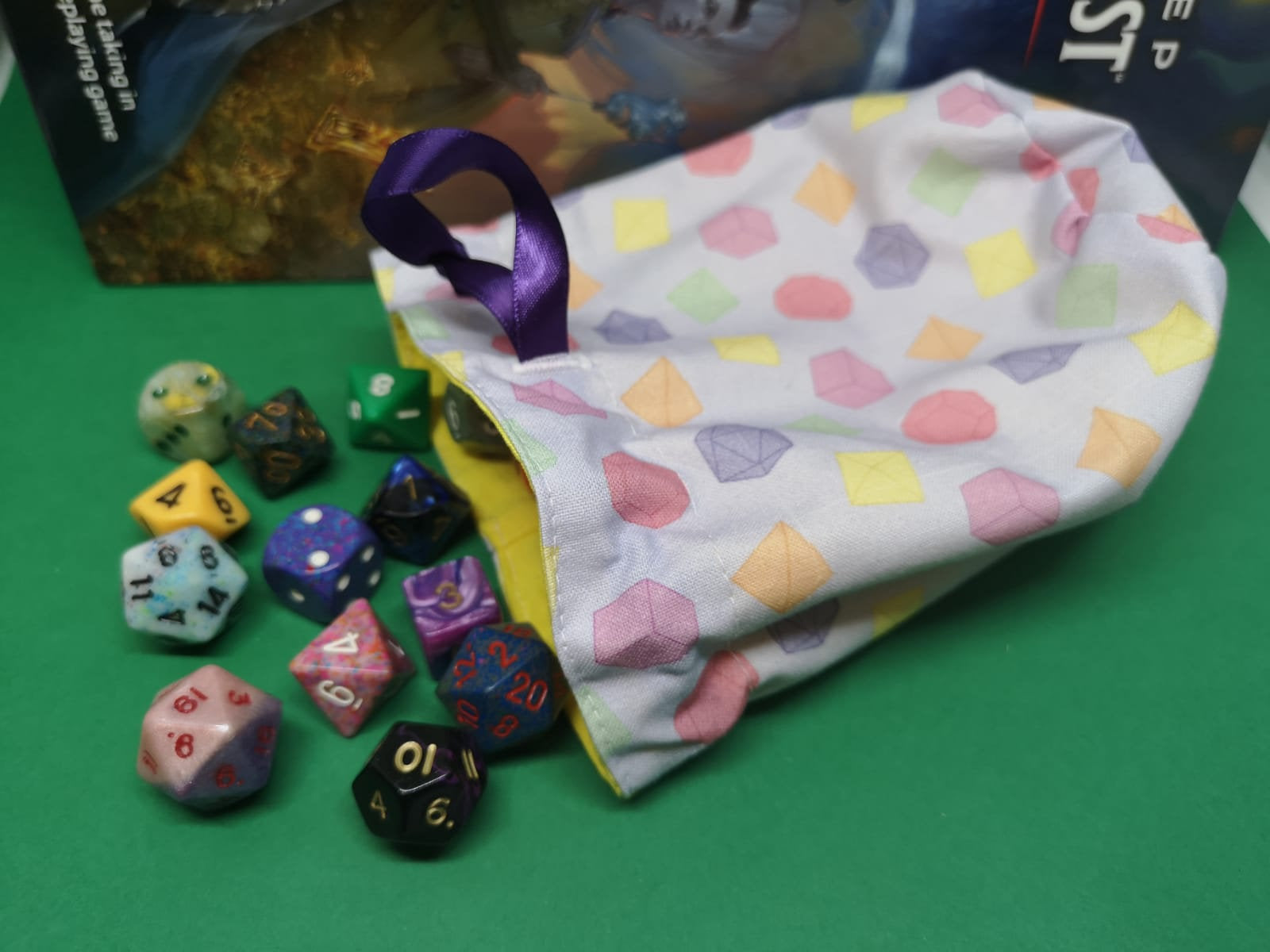 Pastel dice pattern dice bag