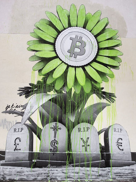 Bitcoin Art - RIP Banking system by Ludo