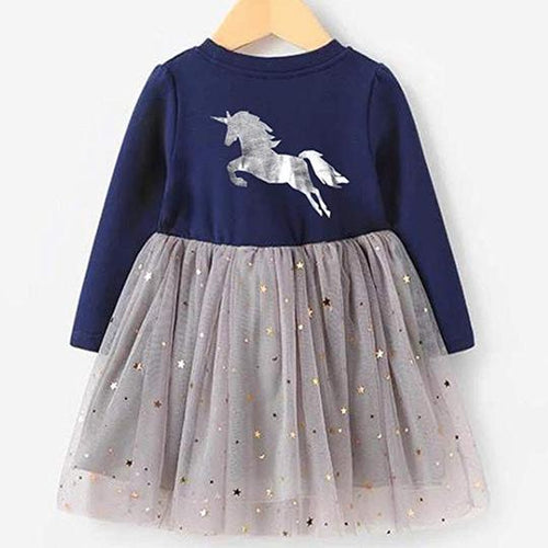 Silver Prancing Unicorn Dress