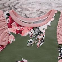 Load image into Gallery viewer, Floral Green Flutter Sleeve Romper