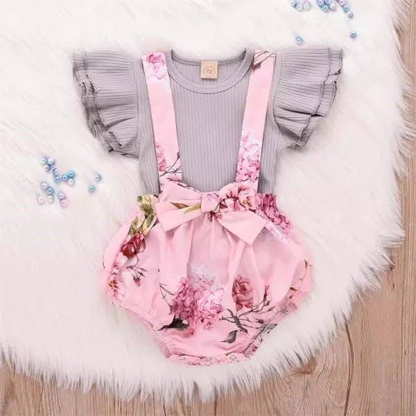 Ruffled Top and Floral Suspender Skirt Set