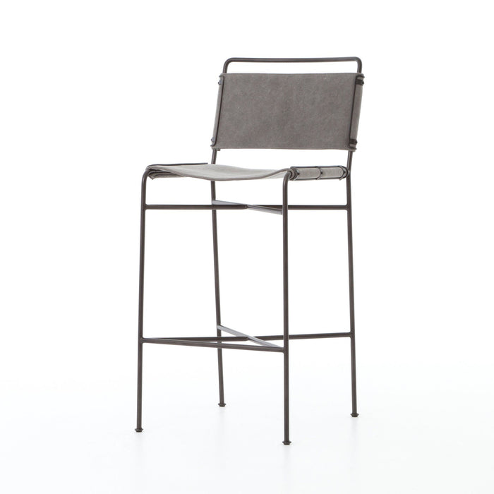 Wharton Bar Stool-Stonewash Grey Canvas