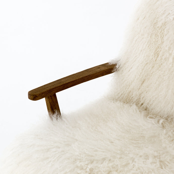 Ashland Armchair-Mongolia Cream Fur
