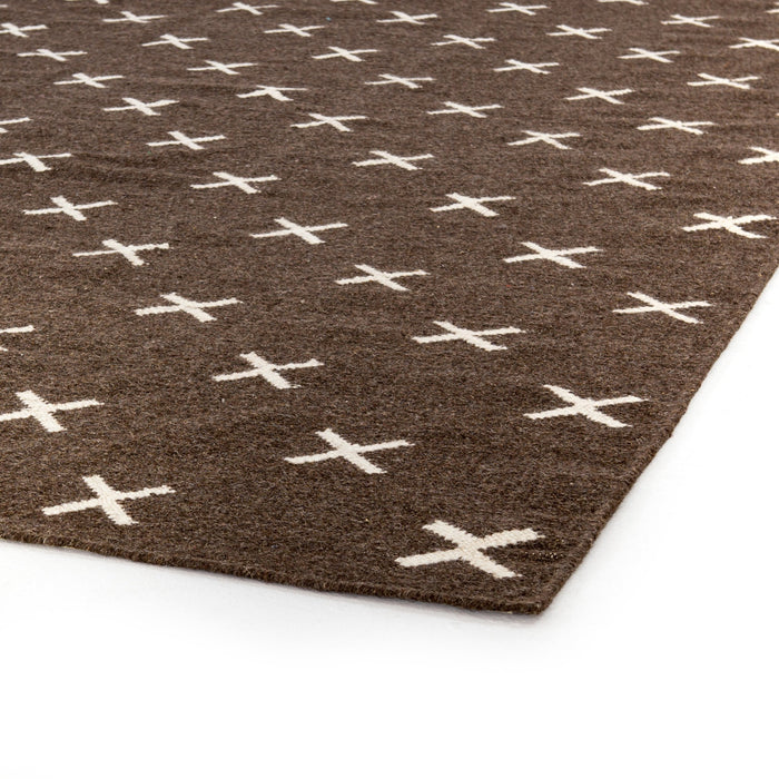 Dark Brown Cross Rug 8' X 10'