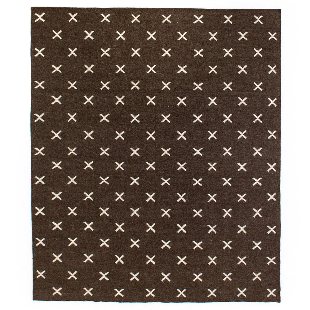 Dark Brown Cross Rug 9' X 12'