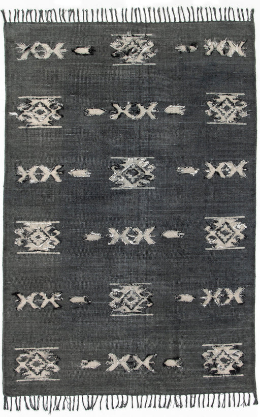 Cotton Tribal Rug Faded Black 5 X 8