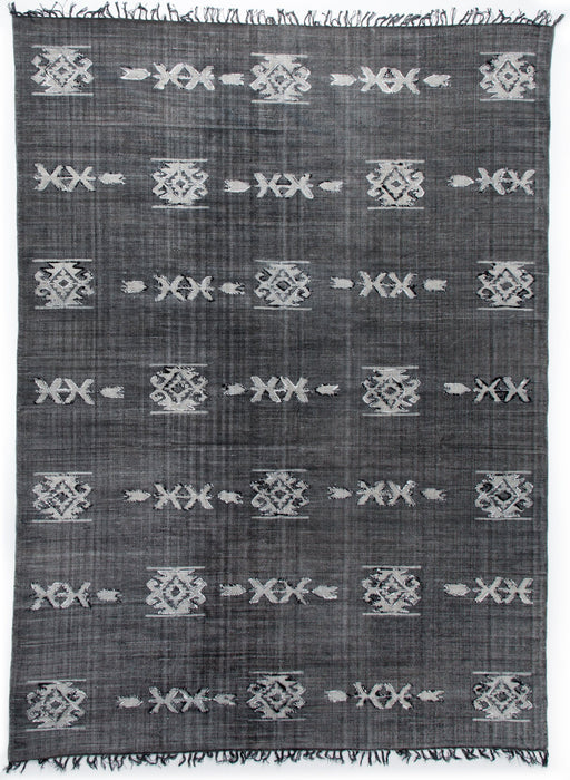 Cotton Tribal Rug Faded Black 8 X 10
