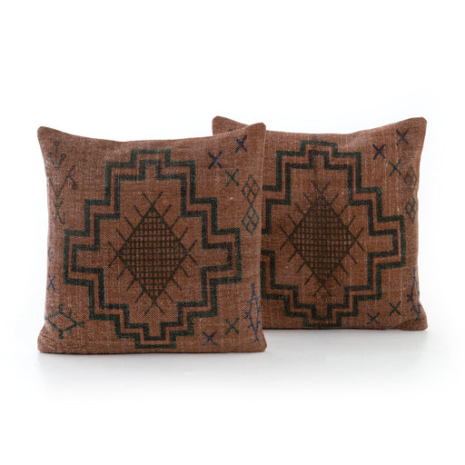Tribal Print Rust Pillow, Set Of 2-20""