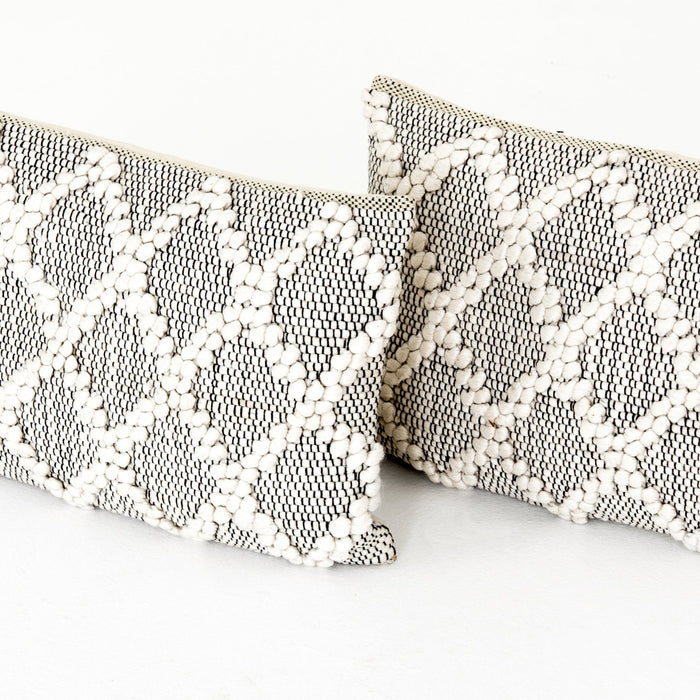 Black & Cream Diamond Pillow, Set Of 2