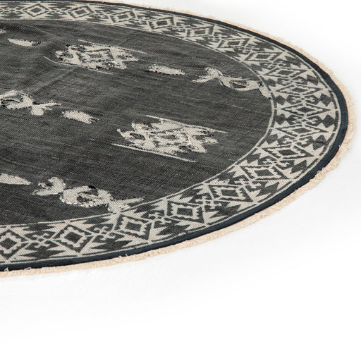 Tribal Faded Black Rug-6' Round