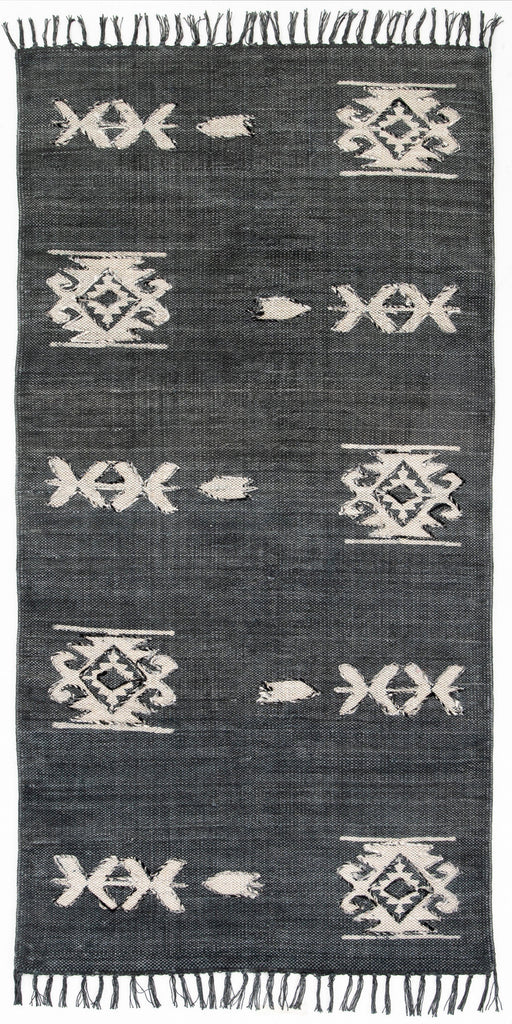 Tribal Faded Black Runner-3x9'