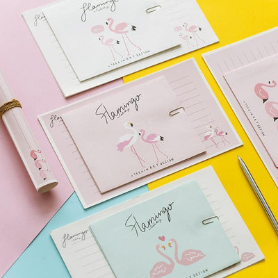 Kawaii meow 1 Set=6 Papers +3 Envelopes Cute Kawaii Flamingo Paper Letter Stationery Set Writing Greeting Birthday Message