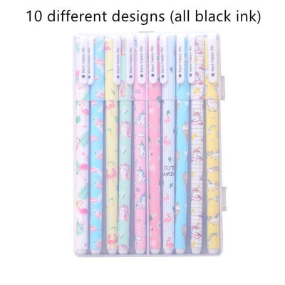 Kawaii meow 10 black pens 10 pcs Cartoon Unicorn & Flamingo Color Gel Pens