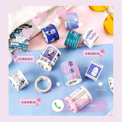 Kawaii meow 1PACK=12 DESIGNS Super Cool Vaporwave Theme High Quality Washi Tape Set 15mm/30mm/50mm*5M DIY Decoration Supplies Free Shipping