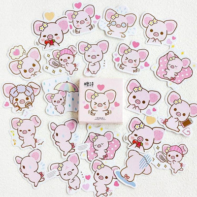 Kawaii meow 1PACK=45PCS Cute Cartoon Pig Anime Theme Mini Paper Stickers 44*44mm DIY Diary Journal Decoration Supplies