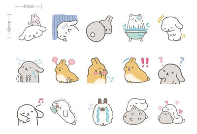 Kawaii meow 1PACK=45PCS Lovely rabbit happy bunny cartoon animal mini paper stickers 4.4*4.4cm DIY sealing sticker gift