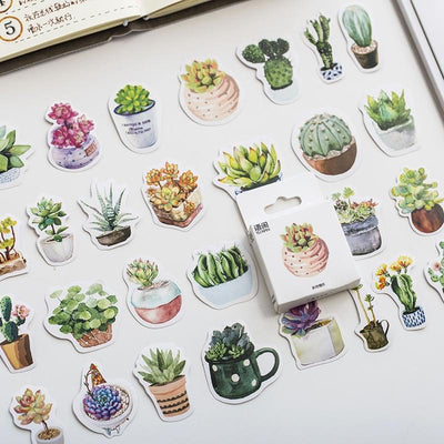 Kawaii meow 2packs/lot Succulents Stickers DIY Decorative Notebook Stickers For Diary Scrapbooking Paper Children's Stickers Gift