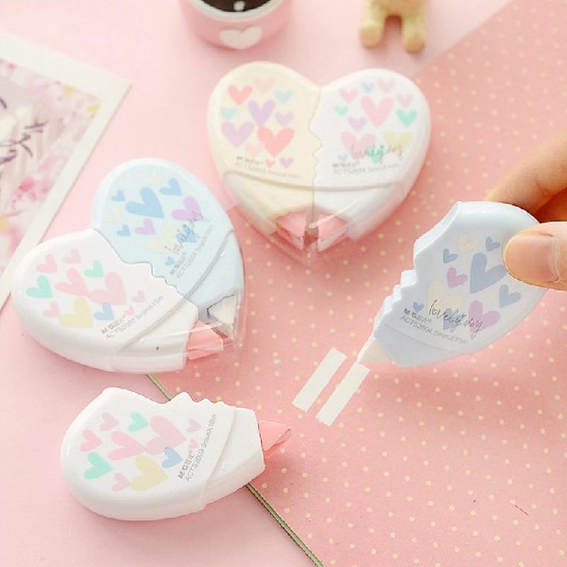 Kawaii meow 2pcs/pack 10 Meters Cute Creative Heart to Heart Correction Tape Corrective Erasers School Office Supply Student Stationery Gift