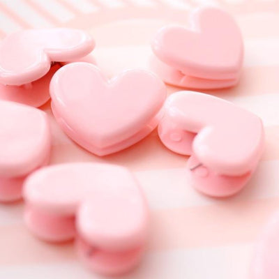 Kawaii meow 3 pcs Pink Heart Clips