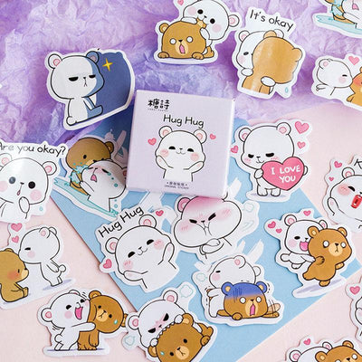 Kawaii meow 45pcs /box Cute Hug Bear Mini Decorative Stickers Scrapbooking DIY Diary Album Stick Label Decor Student Supply