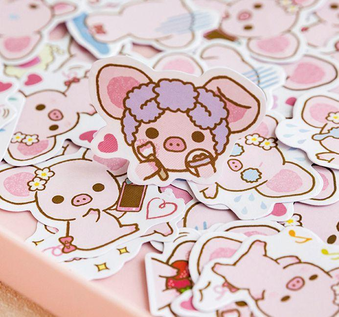 Kawaii meow 45PCS Cartoon Pig Anime Stickers