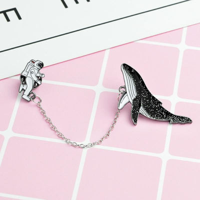 Kawaii meow Astronaut and Whale Brooch