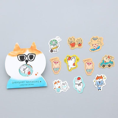 Kawaii meow Сat with glasses Kawaii Cat Stickers
