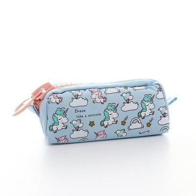 Kawaii meow Big blue Cartoon Unicorn Pencil Case