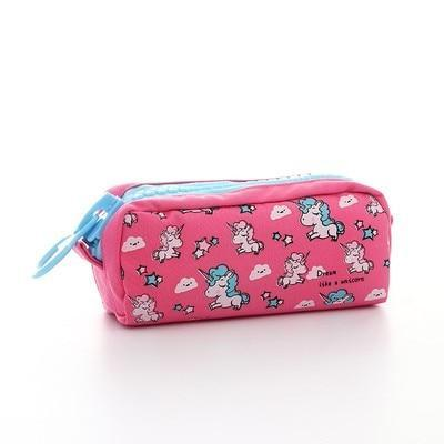 Kawaii meow Big dark pink Cartoon Unicorn Pencil Case