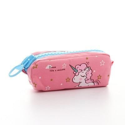 Kawaii meow Big light pink Cartoon Unicorn Pencil Case