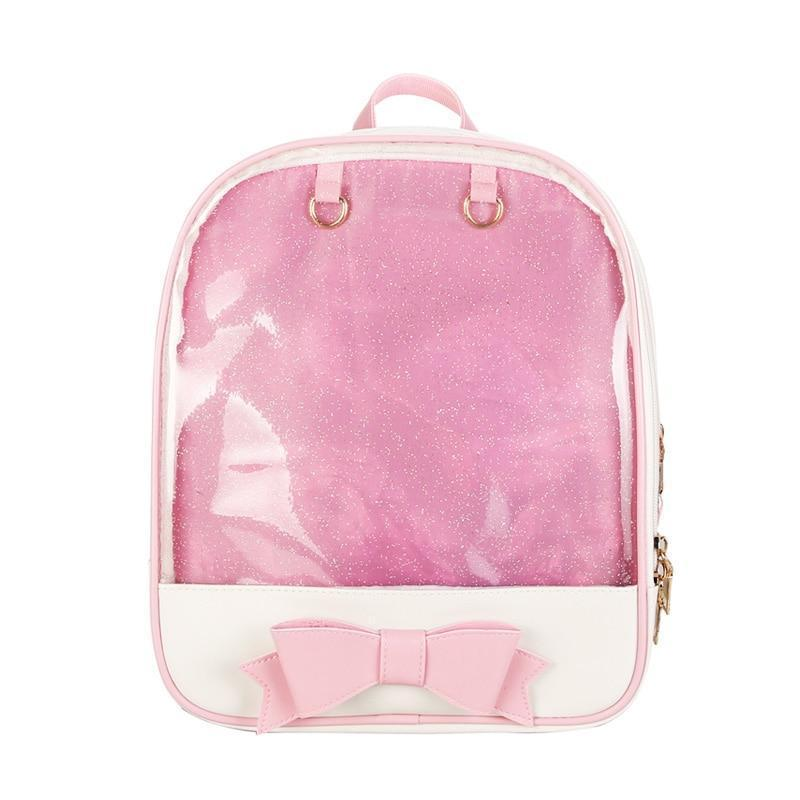 Kawaii meow Black and Pink Kawaii Transparent Backpack