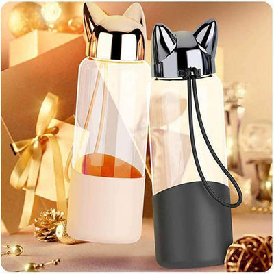 Kawaii meow Black Creative Water Bottle With Cat Ears