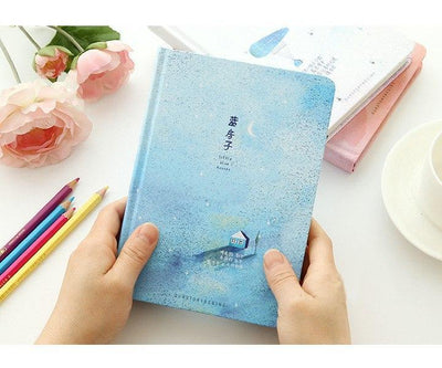 Kawaii meow Blue / A5 135x186mm Creative trend Color Pages A5 Notebook Little Blue House Diary Book Hardcover diary Korea Stationery School Supplies