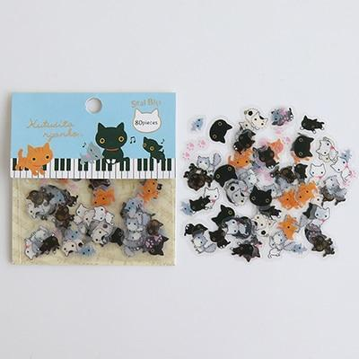 Kawaii meow Blue Cartoon Stickers