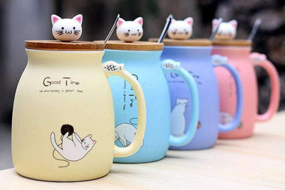 Stay Cat Ceramic Pastel Kitty Mug with Spoon
