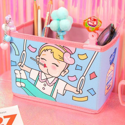 Kawaii meow Blue Cute Kawaii Pen Stationery Holders PU Pencil Organizer Desk Set Accessories Office School Square Container desktop Storage Box