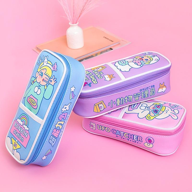 Kawaii meow Blue Kawaii School Pencil Case Cute Cartoon Penal Pencilcase for Girls Boys Large Pen Bag Penalties Cosmetic Storage Box Stationery