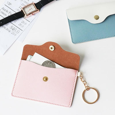 Kawaii meow Creamy white PU Leather Card Holder Classic Simple ID Card Badge Holder with Key Ring Multifunctional Card Case Student Creative Supply