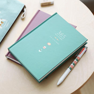 Kawaii meow Dark Blue 365 Days Personal Diary Planner Hardcover Notebook Diary 2018 Office Weekly Schedule Cute Korean Stationery Libretas Y Cuadernos