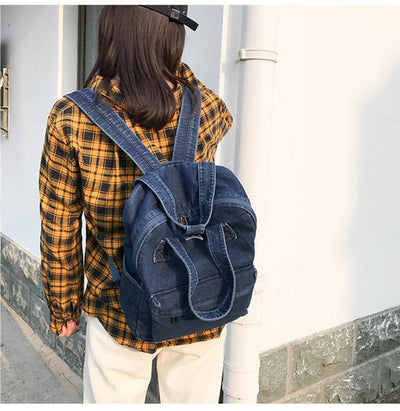 Kawaii meow Dark Blue Denim Backpack