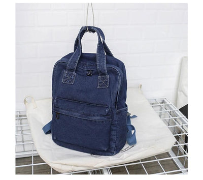 Kawaii meow Dark Blue Denim School Bag Teenager Backpack Ladies High Capacity Women Backpacks 2019 Travel Bag Students Mochila Bolsa harajuku backpack