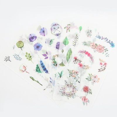 Kawaii meow Flowers Natural Decorative Stickers