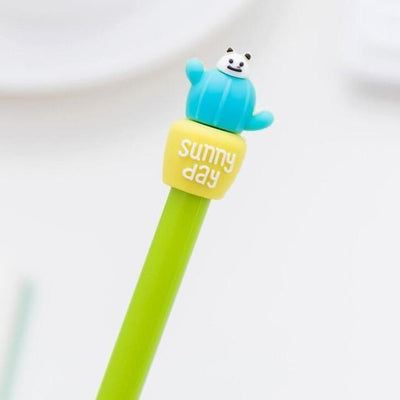 Kawaii meow Green / Black Cactus Gel Pen