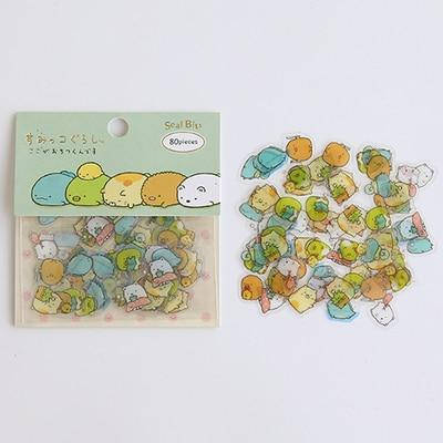 Kawaii meow Green Cartoon Stickers
