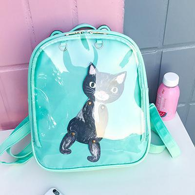 Kawaii meow Green / China / 15 Inches Cat Ear Backpack