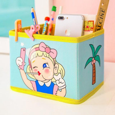 Kawaii meow Green Cute Kawaii Pen Stationery Holders PU Pencil Organizer Desk Set Accessories Office School Square Container desktop Storage Box