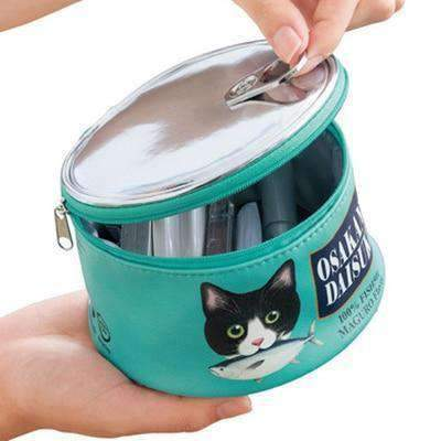 Kawaii meow Green Cute Women Makeup Bag