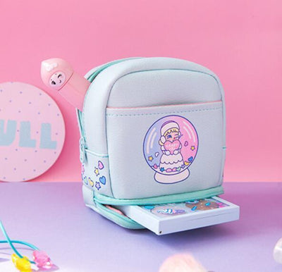 Kawaii meow Green Kawaii Makeup Bag