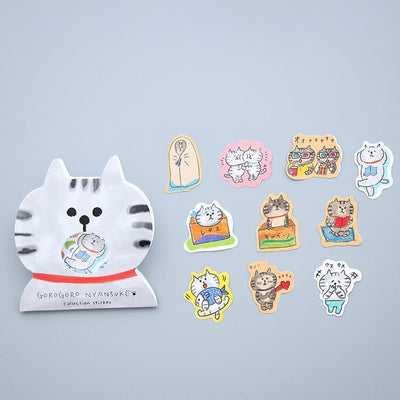 Kawaii meow Grey cat Kawaii Cat Stickers